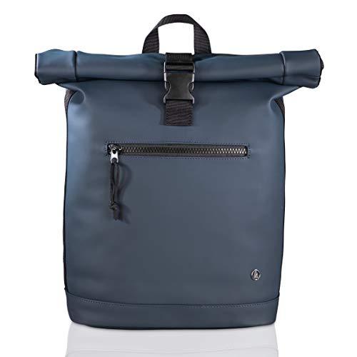 Hama Laptop Rucksack für Damen & Herren (Rolltop Rucksack mit Notebook Fach für PC bis 15.6 Zoll und Tablets, 15 Liter Fassungsvermögen, ergonomisches Design) dunkelblau