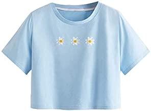 SweatyRocks Women's Cute Floral Print Cropped Tee Short Sleeve Crop Top Blue L