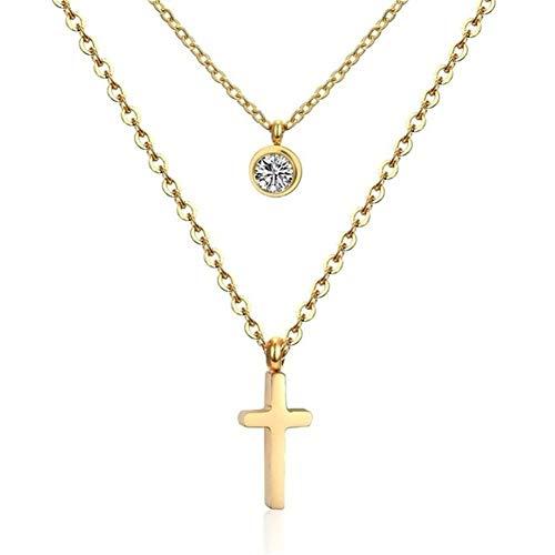 Cadena Collar De Oro Gargantilla Conjunto De Acero Inoxidable De Joyas Colgantes Collares Conjunto For Los Hombres Colgante Cruz Muchachas De Las Mujeres #345 (Metal Color : Gold)