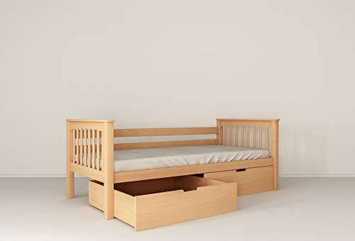 Functioneel kinderbed jeugdbed juniorbed bed 90 x 200 incl. lattenbodem, van massief beukenhout 90 x 200 cm naturel