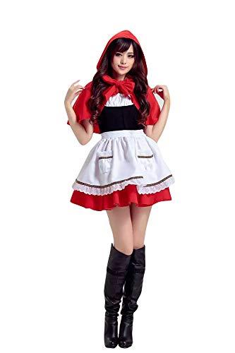 thematys Rotkäppchen Kleid Kostüm-Set für Damen - perfekt für Fasching, Karneval & Halloween - Einheitsgröße 160-170cm