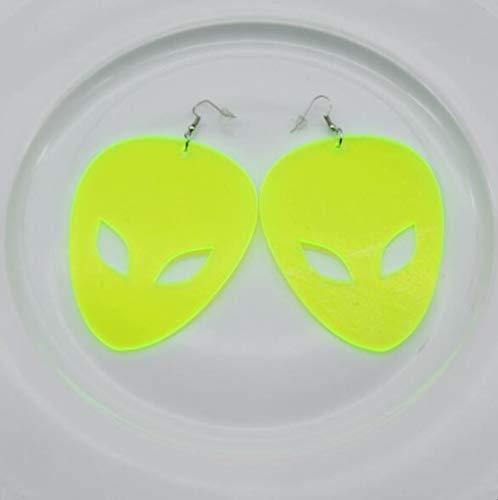 HAOSHA Männer Acryl UFO Aliens Tropfen Ohrringe Übertrieben Große Neonfarbe Partei Anhänger Ohrringe, Neongelb Alien