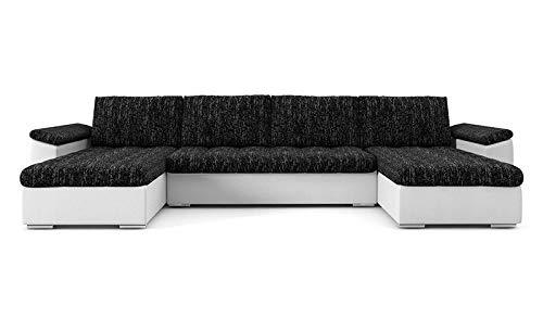PM Ecksofa Schlaffunktion Bettfunktion Couch U-Form Polstergarnitur Wohnlandschaft Polstersofa mit Ottomane Couchgranitur - NICO-U (Dunkelgrau + weißes...