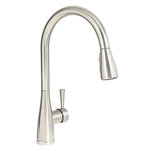 Mirabelle MIRXCCA100SS Stainless Steel Calverton Pullout Spray Kitchen Faucet with High Arch...