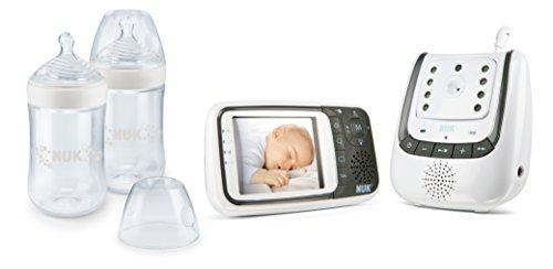 NUK 10225149 Babyphone Video und Nature Sense Set, 1 x NUK Babyphone Eco Control+ Video, 2 x NUK Nature Sense Flaschen