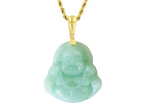 Smiling Laughing Buddha Green Jade Pendant Necklace Rope Chain Genuine Certified Grade A Jadeite Jade Hand Crafted, Jade Neckalce, 14k Gold Filled Buddha necklace, Green Jade Medallion Necklace 18' (18)