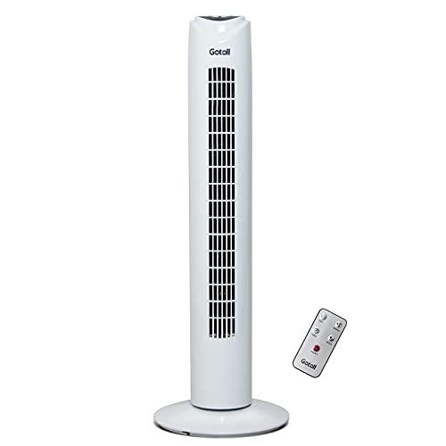 Gotoll Ventilatore a Torre con Telecomando,81,5CM 50W Ventilatore a Colonna con Oscillazione de a 70° ,3 Modalità e 3 Velocità,Timer 7.5 Ore