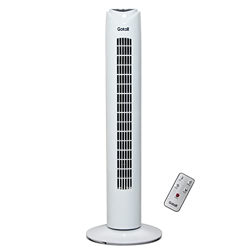 Gotoll Ventilador de Torre 81,5CM 50Wcon Mando a Distancia,Ventilador de Pie Blanco,Oscilación de 70°,3 Velocidades,3 Modos,7,5H Temporizador