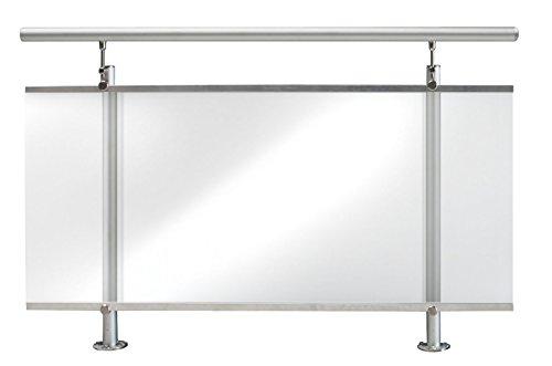 TREBA / FREWA Aluminium Geländerset mit Acrylglas klar, Bodenmontage, 1 Stück, AF2 130.08.0111