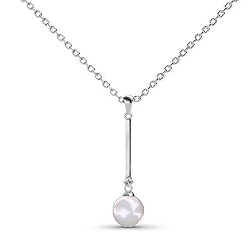 Silber-Kette Anhänger | Hals-Schmuck | mit Swarovski Stein | 925 Sterling Silber | Vergoldet mit 18K Weißgold | Mit Perle | Pearl Bar