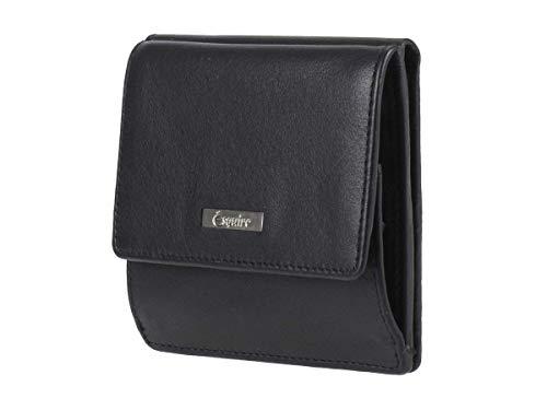 Esquire Geldbörse Senioren breite Kartenfächer großes Münzfach Notfallausweis Einkaufschip Leder schwarz Portemonnaie Geldbeutel