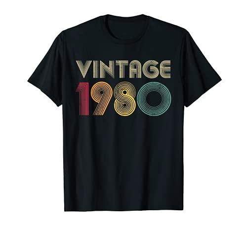 Vintage 1980 41st Birthday 41 Years Old Men Women Retro Camiseta