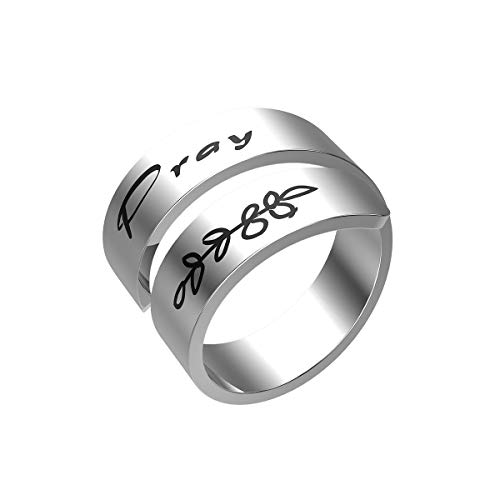 Pray Ring Prayer Wrap Ring Don't Worry About Anything Pray About Everything Philippians 4:6 Gift for Her Aluminum Adjustable Faith Ring