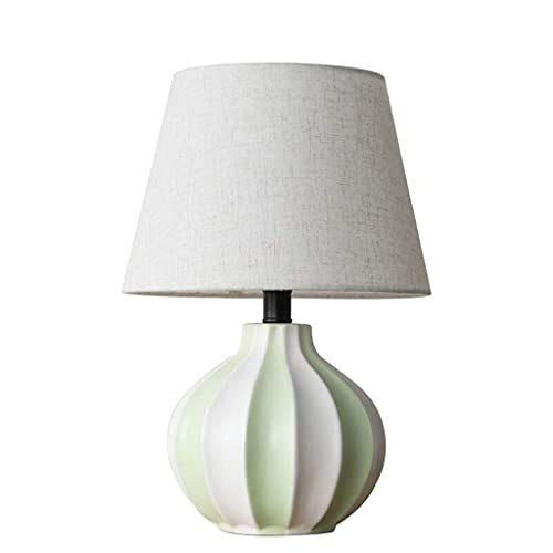 KTDT Lámpara de Mesa de cerámica de Estilo nórdico, lámpara de Noche para Dormitorio, Pantalla de Tela de Lino, lámpara de Escritorio Minimalista Regulable, 11 *...