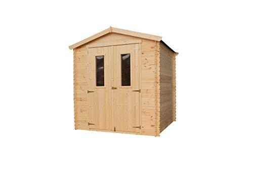 TIMBELA Holzhaus Gartenhaus M343C M343G - Gartenschuppen Holz mit Boden Imprägnierte B216xL206xH218 cm/ 3.53 m2 Lagerschuppen für Garten - Fahrrad Schuppen - Wasserfestes Dach