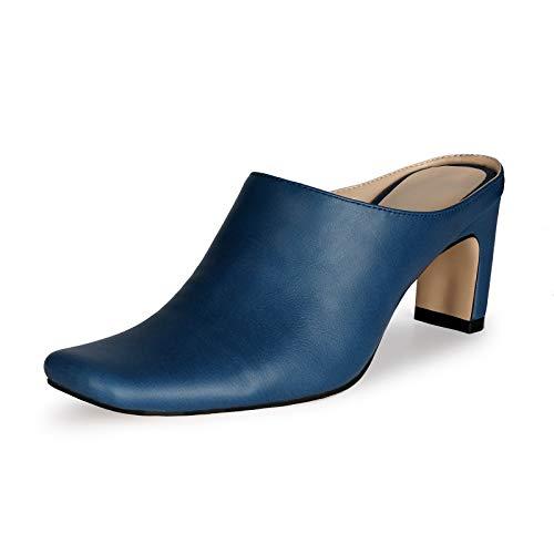 Bewinch Zapatos Tacón Mujer, Pequeñas Y Cuadradas, Cortas Y Cómodas, para Mujer, Altura del Tacón 6,5 Cm para Fiestas, Compras, Ocio Diario,Azul,EU39
