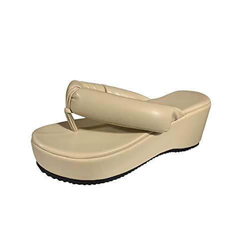 Encourageup Chanclas de playa de gran tamaño para mujer, sandalias de verano con plataforma ortopédica para niñas de punto negro