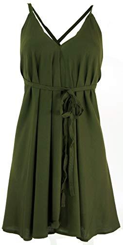Guru-Shop Minikleid Boho Chic, Wandelbares Minikleid, Top, Rock, Damen, Olivegrün, Synthetisch, Size:36, Kurze Kleider Alternative Bekleidung