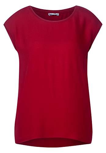 Street One Damen 315090 2in1 Materialmix T-Shirt, Sweet Wine, 36
