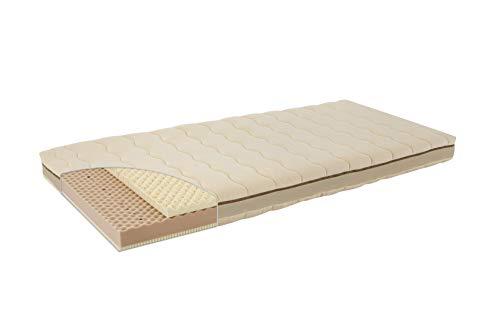 Träumeland T080272 Kind- & Jugendmatratze Naturstern 90 x 200 cm - Naturmatratze mit Bezug aus kbA-Baumwolle und hervorragendem Liegekomfort dank Naturlatex in innovativem Sandwichaufbau, mehrfarbig