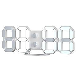 3D LED Digital Desktop Alarm Clock 9.7 Inch Wall Desk Timer Brightness Adjustable for Hotel Office Home Living Room