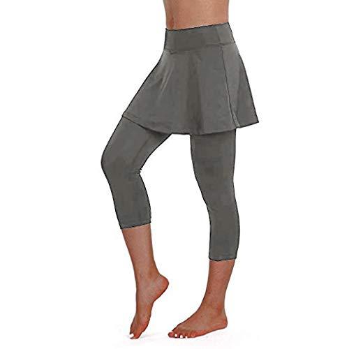 Riou Rock Damen mit Hose Sommer Kurz Active Athletic Skort Leichter Tennisrock mit Innenhose Hosenrock für Damen Sportrock (XL, Gray)