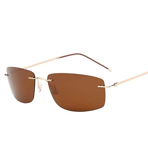 YTYASO con Estuche Gafas de Sol de Titanio polarizadas Cuadradas Hombre Gafas de Sol Redondas Gafas de Sol para Hombre