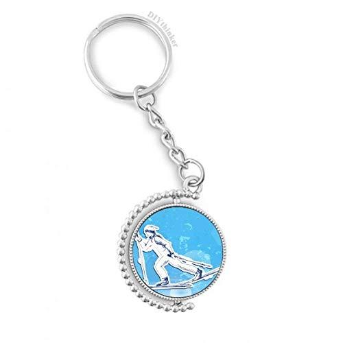 DIYthinker Wintersport Snowboard Blau Weiß Illustration Drehbare Schlüsselanhänger Ringe 1.2 Zoll x 3.5 Zoll Mehrfarbig