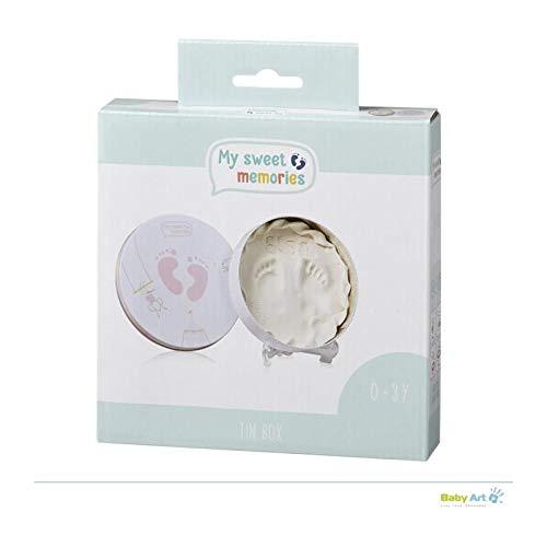My Sweet Memories 3601081600 geschenkdoos van metaal, rond, bijzondere geschenkdoos met gipsafdruk om zelf te maken, roze