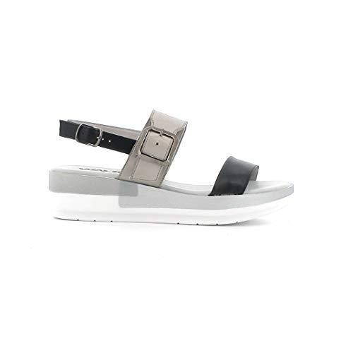 Melluso Sandalo Donna 018825a in Pelle Nera con Sottopiede in Memory Foam 37