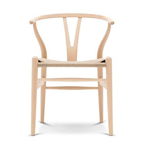 Carl Hansen - CH24 Wishbone Chair, Buche geseift/Naturgeflecht