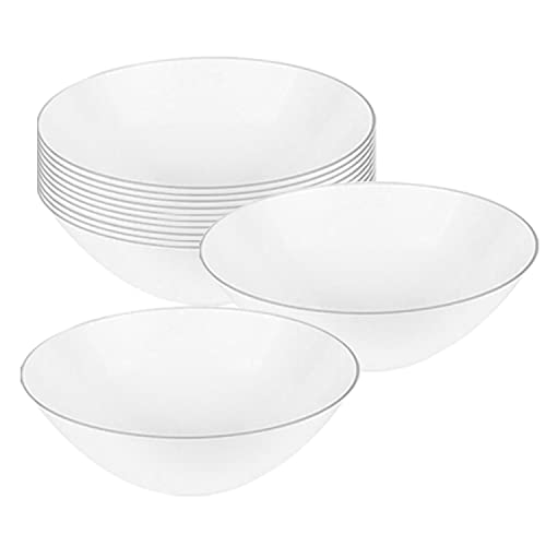 Disposable Dessert Bowls, Elegant Plastic Salad Servingware, 6 oz White with Silver Rim Soup Round Heavy Duty for Wedding, Christmas, Birthday and All Occasions 120 pcs