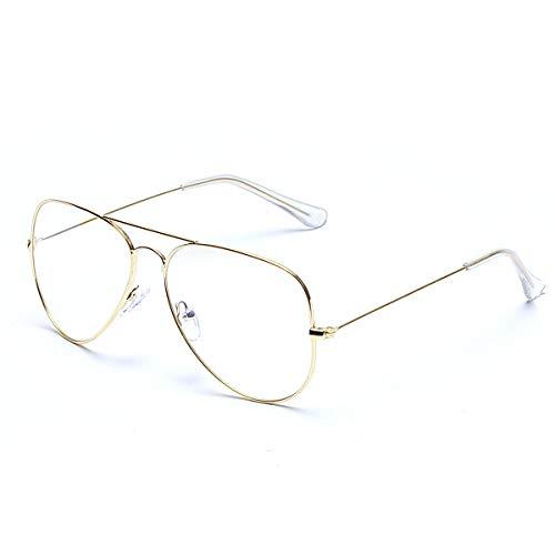 Lentes de aviador transparentes sin receta, marco de metal para mujeres y hombres, Marco dorado 3025/lente transparente, 51mm
