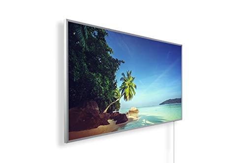 Bildheizung Infrarotheizung mit Digitalthermostat für Steckdose - 5 Jahre Herstellergarantie- Elektroheizung mit Überhitzungsschutz (Seychelles Beach;800W)