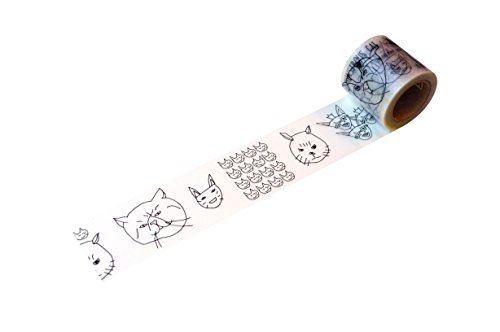 小屋女子DIYカフェ 養生テープ ねこ YJV-21 ブラック/グレー 45mmx5m
