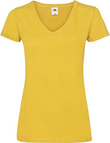 Lady-Fit Valueweight V-Neck T-Shirt von Fruit of the Loom Sunflowergelb M