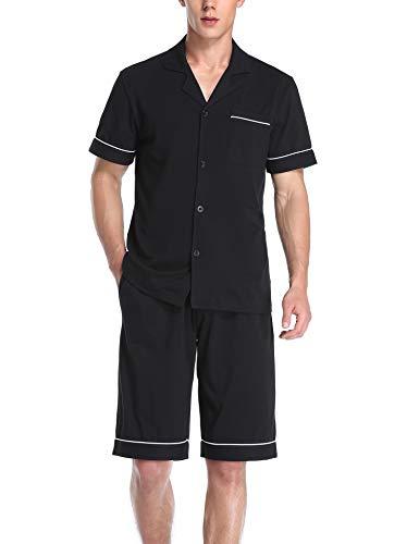 COLORFULLEAF Men's 100% Cotton Pajamas Set Short Sleeve Button Down Pj Shorts Sets Sleepwear