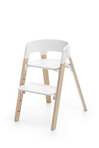Stokke Steps Stuhl - Der wandelbare Stuhl, der mit Ihrem Baby mitwächst - Sitz: Weiß - Holz: Buche - Farbe: Natural