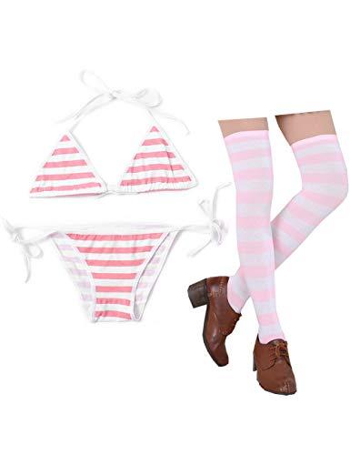 Oludkeph 3 PCS Sexy japanische süße Anime Dessous Set für Frauen mit gestreiften Oberschenkel High Socks Bikini (Rosa, S-M)