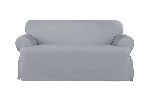 SURE FIT Heavyweight Cotton Duck Loveseat Slipcover - Pacific Blue