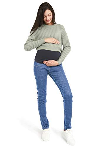 Bamans Damen Schwangerschaftsjeans Umstandshose Bauchband Hosenbunderweiterung Umstandsmode Bund Denim-Look(Light Blue,XX-Large)