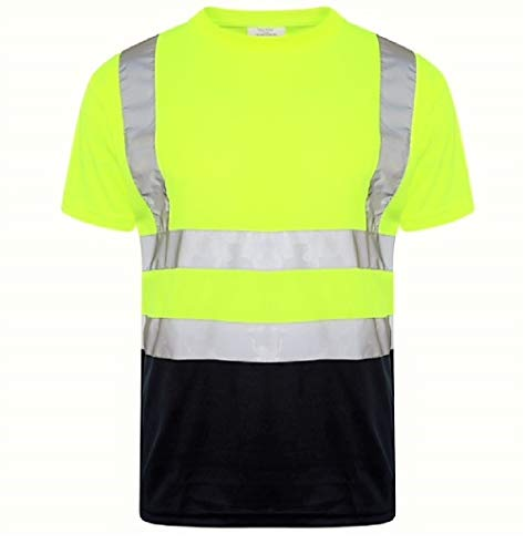 YCC® Camiseta de manga larga y corta para hombre, con cuello redondo, cinta reflectante de alta visibilidad, cuello redondo, color amarillo, azul marino