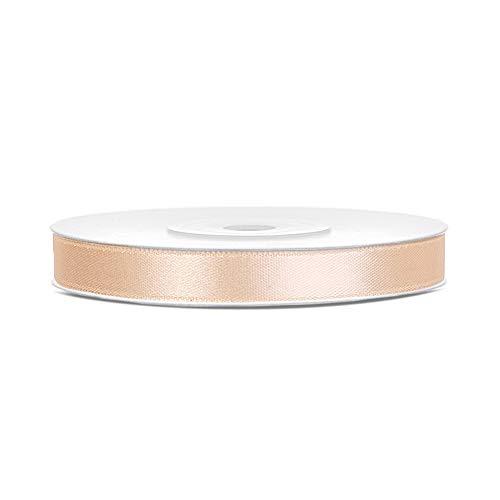 DaLoKu Satinband 6/12/25/38/50/100mm x 25m Geschenkband Schleifenband, Größe: 6mm x 25m, Farbe: Creme