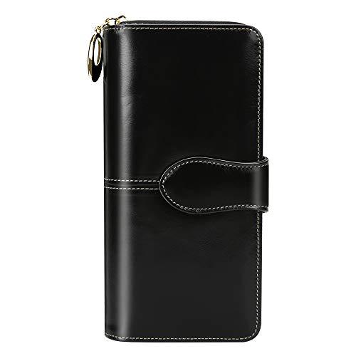 EGRD 財布 レディース ウォレット コインスルー 長財布 大容量 小銭入れ付 RFID&磁気スキミング防止 カードケース スマホ入れ可 10カード入れ&4お札入れ 高級感あり 手触り良い 自分用 母/女性/彼女のプレゼントに最適 (ブラック)