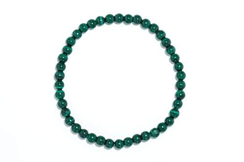 Taddart Minerals – Pulsera verde de la piedra preciosa natural malaquita con bolas de 4 mm en hilo de nailon elástico – hecha a mano