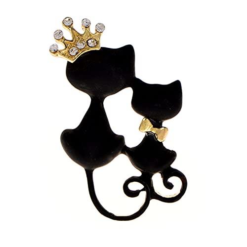 DFHTR Schwarze Katze Broschen Für Frauen Emaille Tier Brosche Pin Modeschmuck Spezialzubehör Niedliche Manteltasche Brosche Geschenk