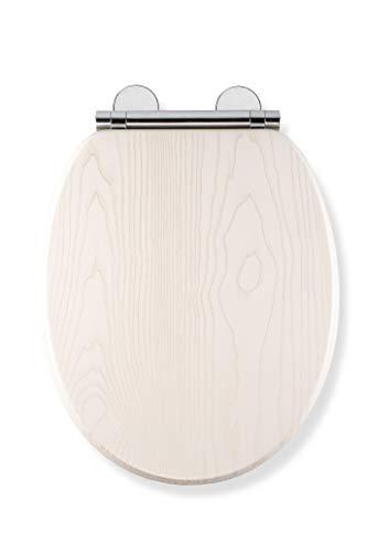 Croydex Flexi-Fix - Sedile per WC, effetto rovere, montaggio universale