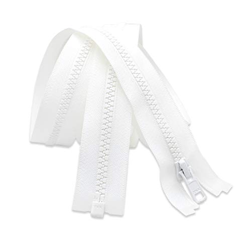 100' Zipper - Long Arm Quilting Machine Zipper - YKK #5 Molded Plastic - Separating - White (1 Zipper)