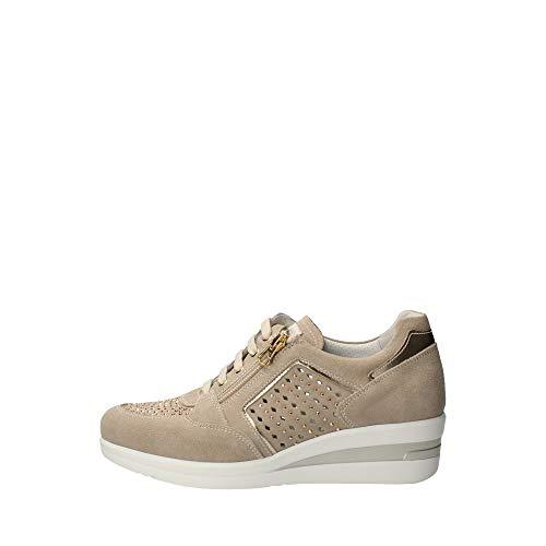 Nero Giardini E010453D Sneakers Donna in Pelle E Camoscio - Ivory 38 EU