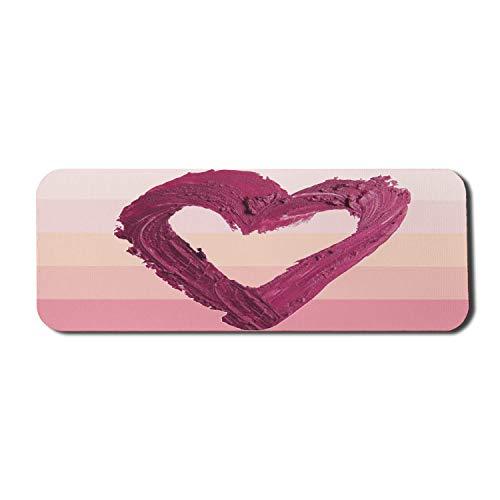 Sweetheart Computer Mouse Pad, Lippenstift Smash Herzform auf Pastell Ombre Style horizontal gestreiften Hintergrund, Rechteck rutschfeste Gummi Mousepad große mehrfarbig
